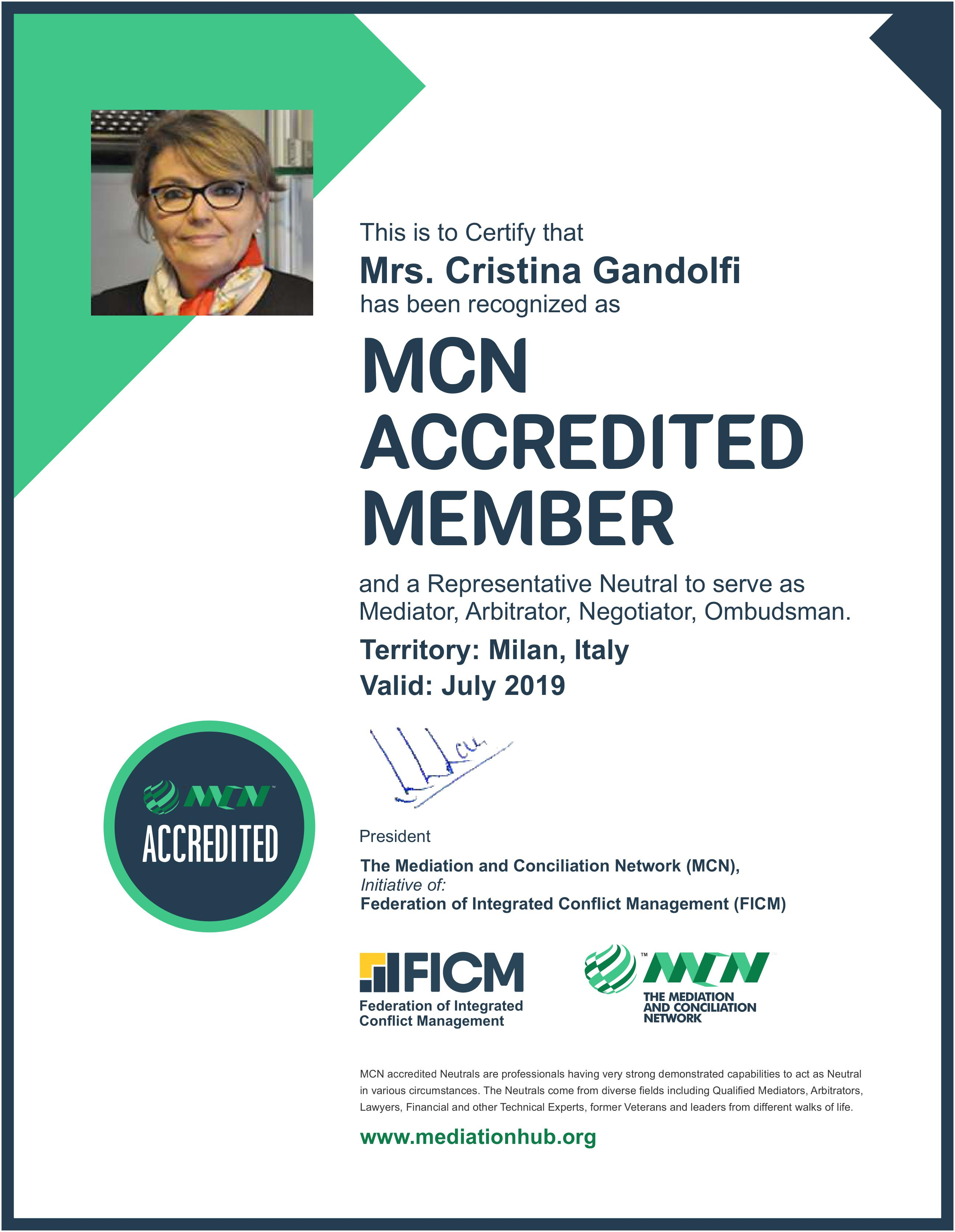 Mrs Cristina Gandolfi FICM MCN Accredited Neutral